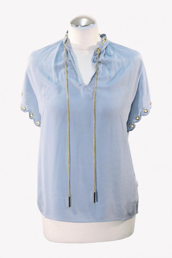 Michael Kors T-Shirt in Blau aus Seide aus Seide Alle Jahreszeiten.1