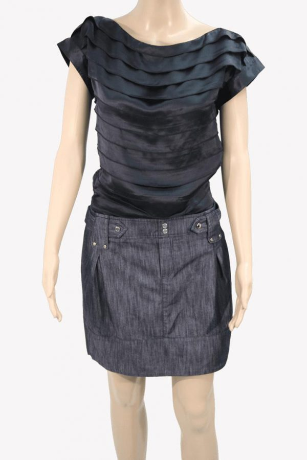 Karen Millen Kleid mit Jeansrock aus Seide Alle Jahreszeiten.1
