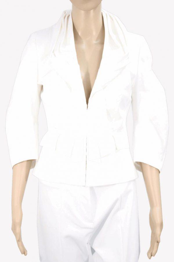 Karen Millen Jacke in Weiß aus Baumwolle Frühjahr / Sommer.1
