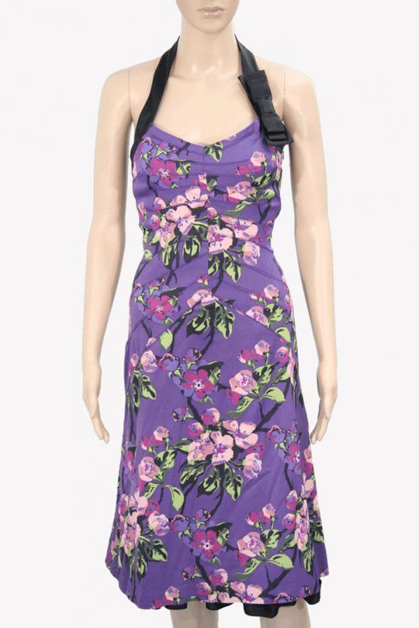 Karen Millen Violettes Kleid mit Muster aus Acetat Frühjahr / Sommer.1