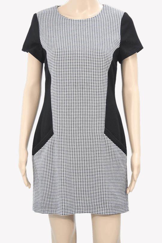 Ted Baker Kleid in Schwarz-Weiß aus Baumwolle Alle Jahreszeiten.1