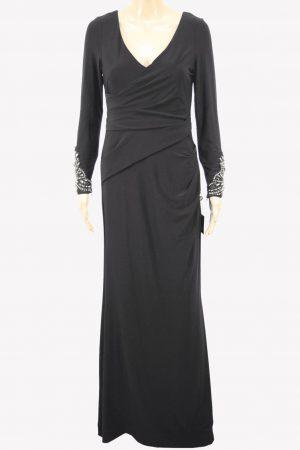 Adrianna Papell Maxi-Kleid in Schwarz mit Paillettenbesatz aus Polyester Alle Jahreszeiten.1