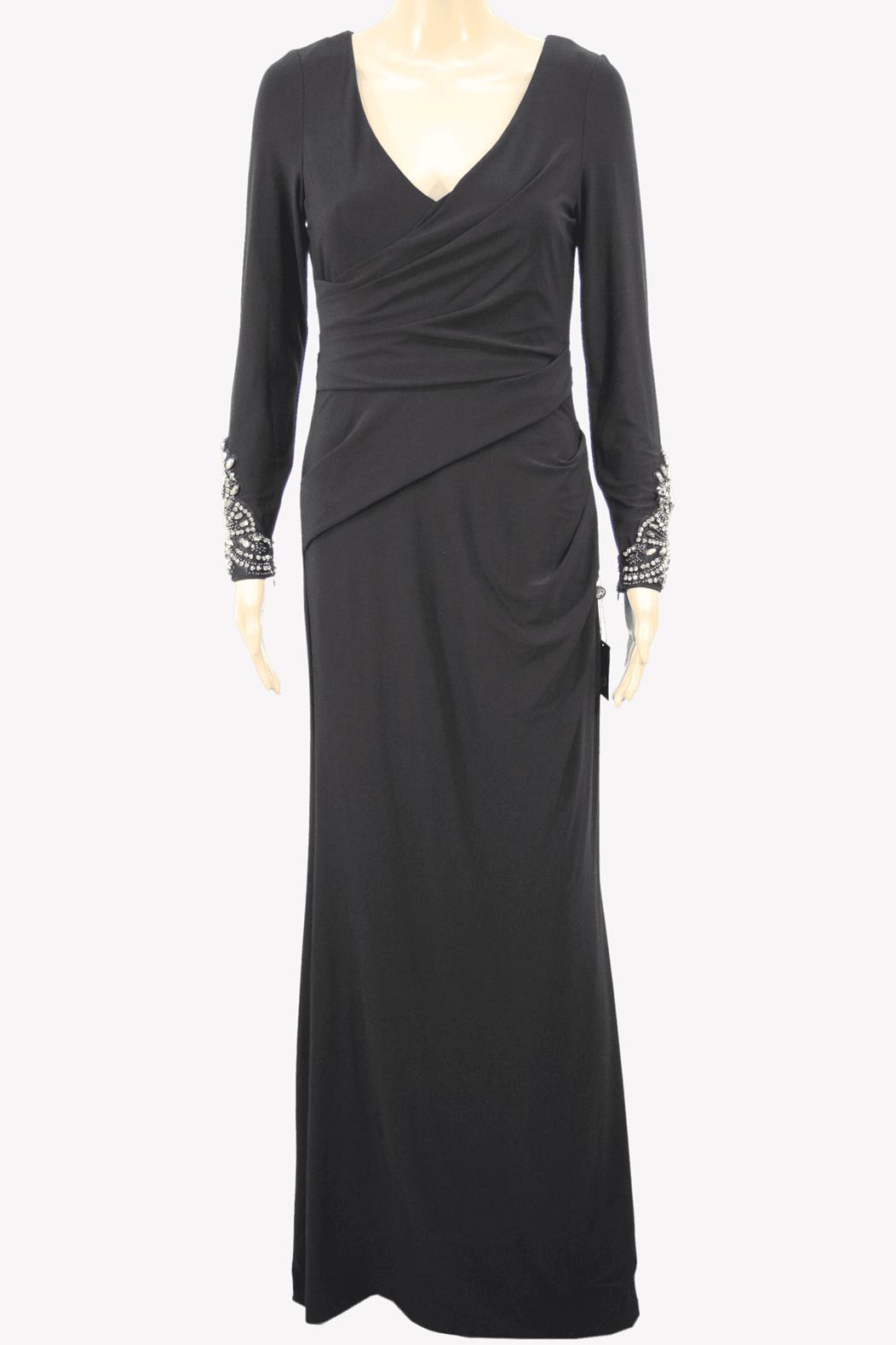 Maxi-Kleid in Schwarz mit Paillettenbesatz Adrianna Papell