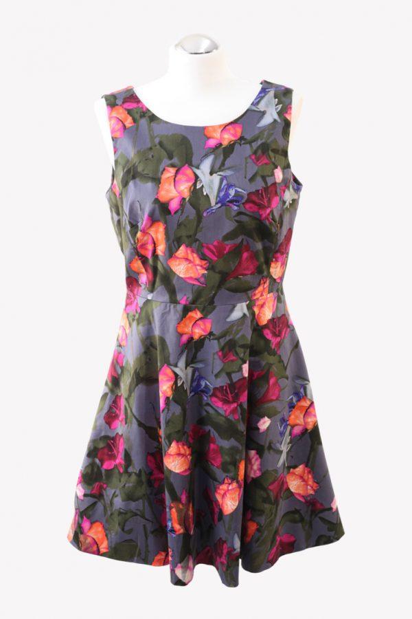 Karen Millen Skaterkleid mit Blumenmuster aus Baumwolle Alle Jahreszeiten.1
