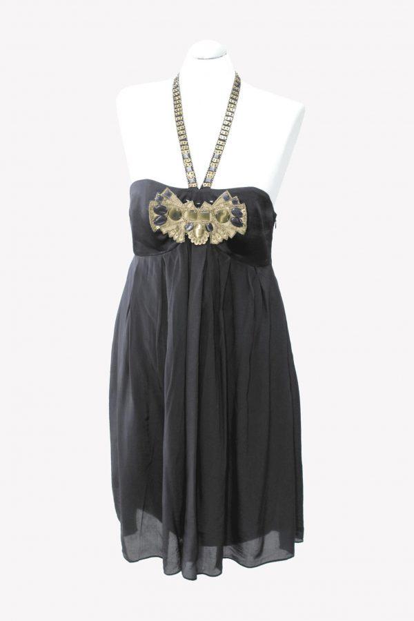 Karen Millen Seidenkleid in Schwarz aus Seide Alle Jahreszeiten.1