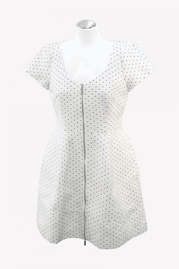 Karen Millen Gepunktetes Kleid in Schwarz-Weiß aus Baumwolle Alle Jahreszeiten.1