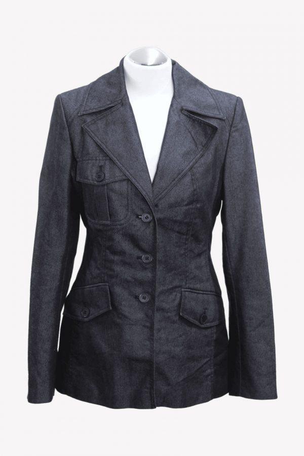Karen Millen Jeansjacke in Blau aus Baumwolle Alle Jahreszeiten.1