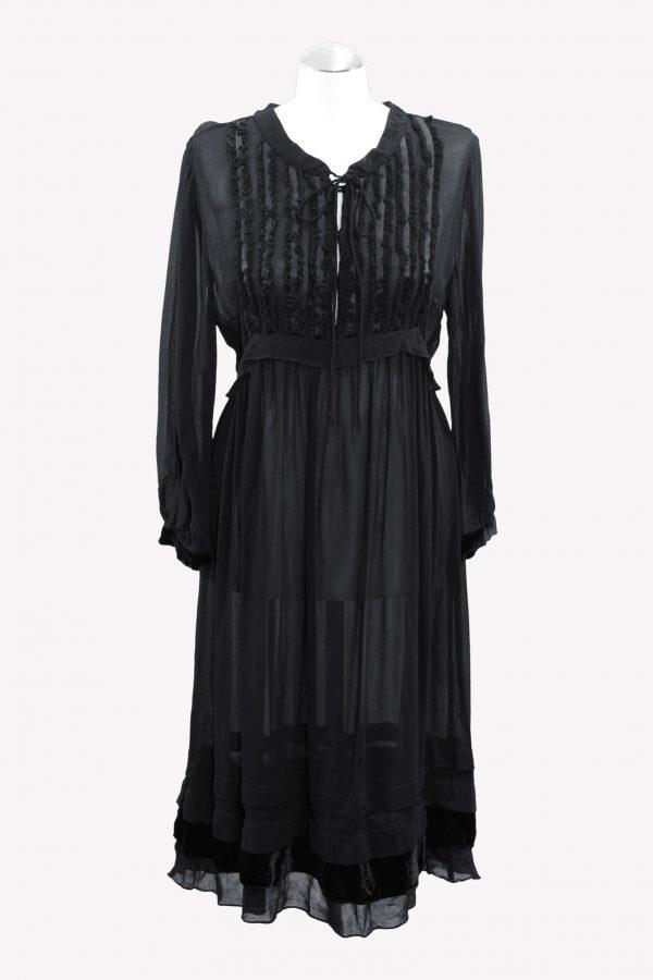 Hugo Boss Transparentes Kleid in Schwarz aus Polyester Frühjahr / Sommer.1
