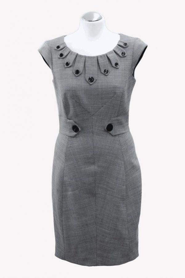Karen Millen Wollkleid in Grau aus Wolle Alle Jahreszeiten.1