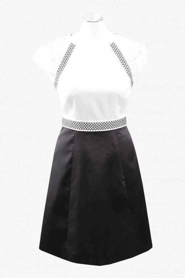 Karen Millen Kleid in Schwarz-Weiß aus Polyester Alle Jahreszeiten.1