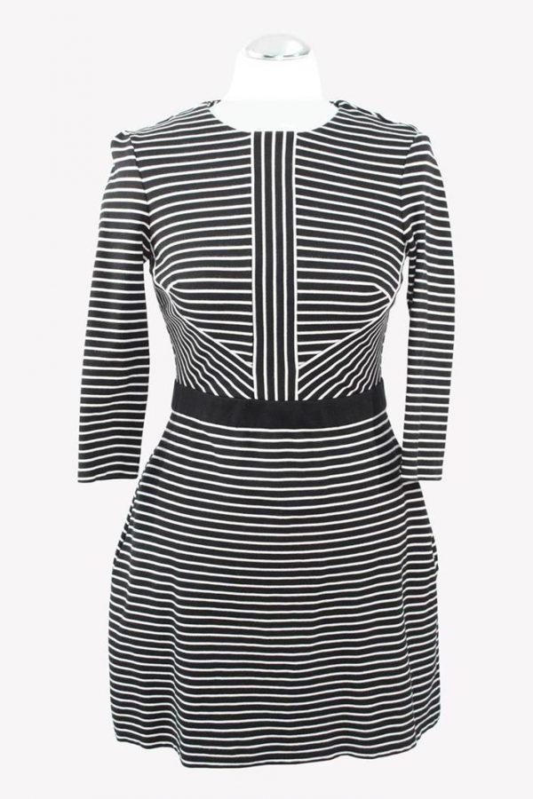 Karen Millen Shiftkleid in Schwarz / Weiß aus Viskose Alle Jahreszeiten.1