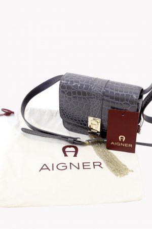Umhängetasche in Lila aus Leder Aigner
