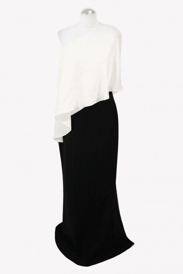Ralph Lauren Maxikleid in Schwarz / Weiß aus Polyester Alle Jahreszeiten.1