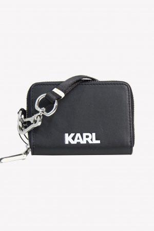 Karl Lagerfeld Portemonnaie in Schwarz aus Leder .1