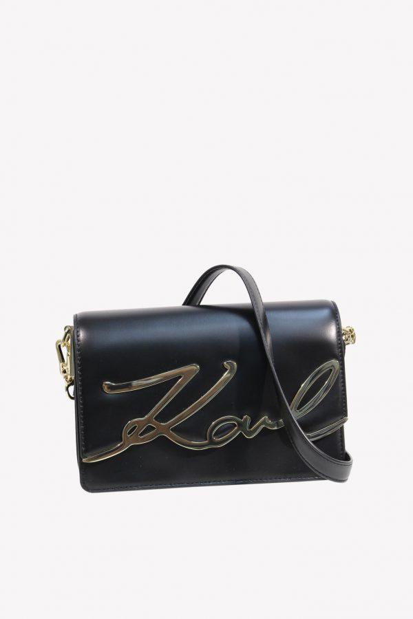 Karl Lagerfeld Umhängetasche in Schwarz aus Leder.1