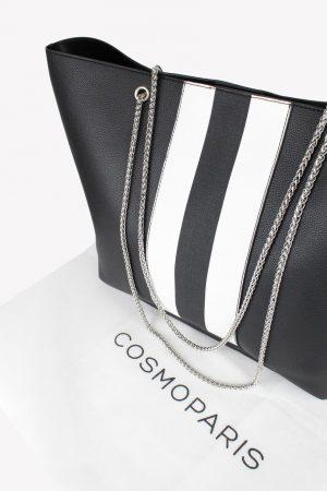 Schultertasche in Schwarz / Weiß Cosmoparis